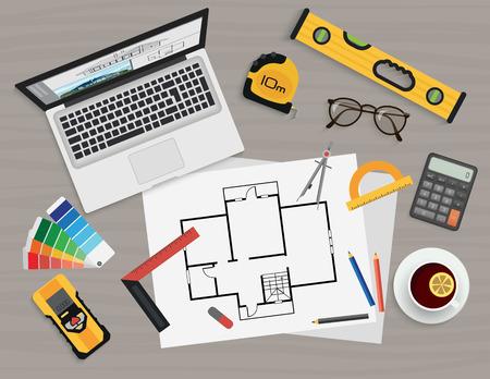 herramientas de construccion: planificaci�n de la construcci�n y el proceso de creaci�n de arquitecto. proyecto arquitect�nico, el concepto de vista t�cnico superior.