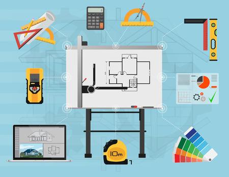 arquitecto: planificación de la construcción y el proceso de creación de arquitecto. proyecto arquitectónico, el concepto de vista técnico superior.