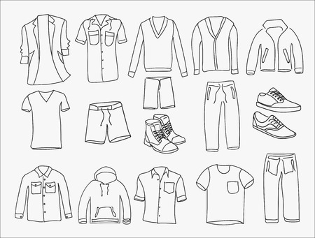 MInimalistic Men clothes and shoes illustrations icons, thin line style on the white background. Çizim