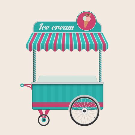 ice cream cart: Vintage gelato illustrazione carrello bus di vettore isolato