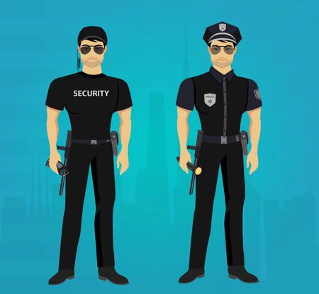 guards: Vector Security and Policeman guards concept isolated