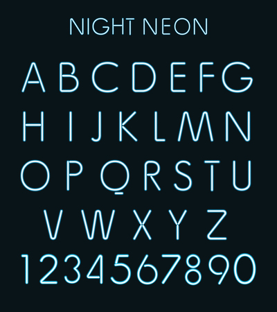 neon light: Vector Blue night neon light alphabet isolated in black