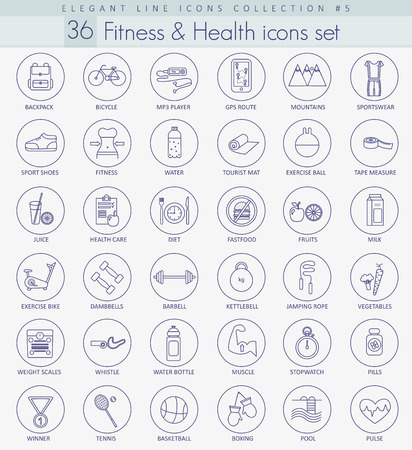 mineral water bottles: Vector fitness and health Outline icon set. Elegant thin line style design.