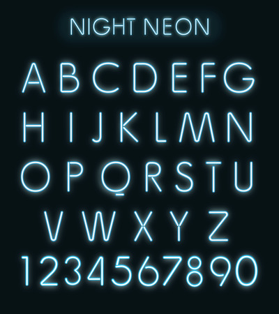 alphabetical letters: Vector Blue night neon light alphabet isolated in black