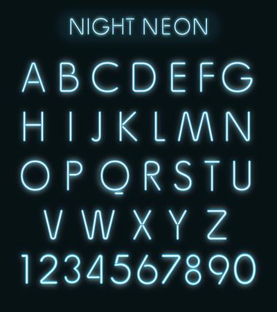 letras negras: Vector de la noche azul alfabeto de luz de neón aislado en negro Foto de archivo