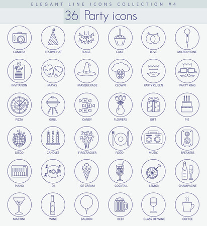 beer wine: Vector Party Outline icon set. Elegant Thin line style design.
