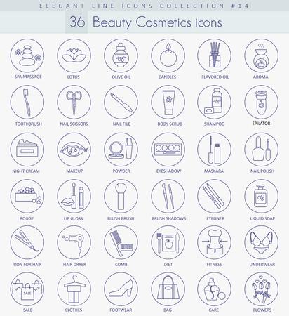 Set di icone di bellezza e cosmetici vettoriali. Elegante design in stile sottile.