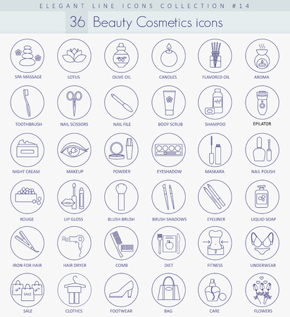 body care: Vector beauty and cosmetics outline icon set. Elegant thin line style design.