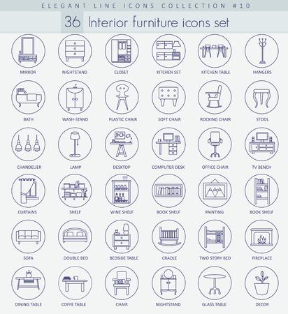 Vector home furniture outline icon set. Elegant thin line style design.