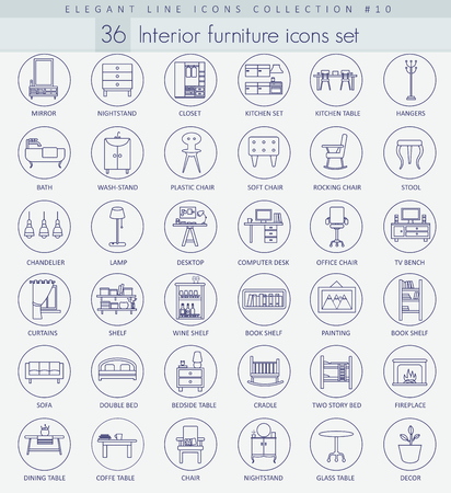 Vector home furniture outline icon set. Elegant thin line style design.
