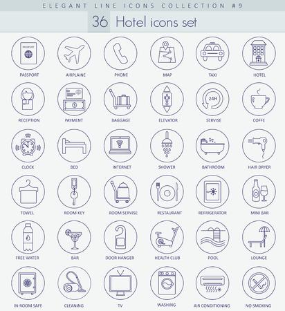 set vector icono contorno de hotel. diseño de estilo de línea delgada elegante. Ilustración de vector