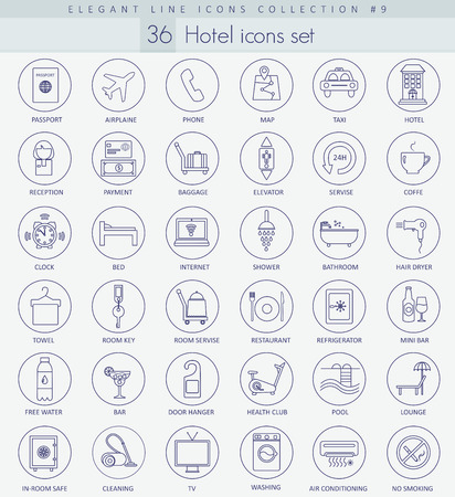 Vector hotel outline icon set. Elegant thin line style design.