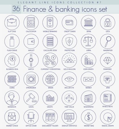 Vector Finance Umriss-Icon-Set. Elegante dünne Linie Stil Design.