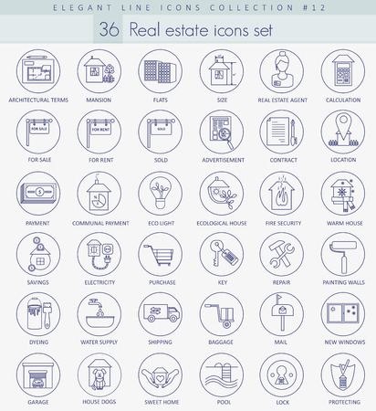 homes for sale: Vector real estate outline icon set. Elegant thin line style design. Illustration