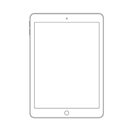 Outline drawing tablet. Elegant thin line style design. Vector illustration eps 10