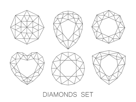 Elegant ultra thin line diamonds icons logo set. Vector illustration.