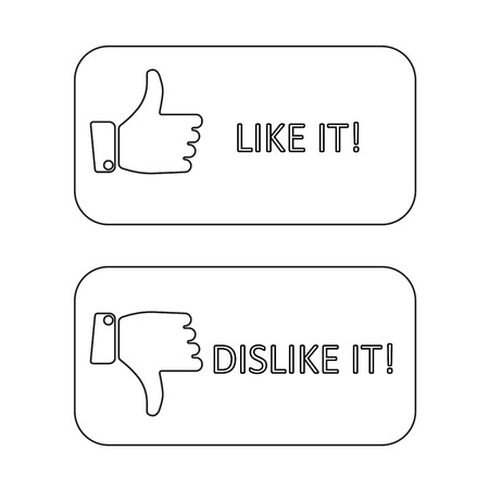 dislike it: like it and dislike it symbol line style buttons isolated.