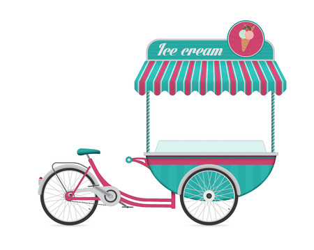 carretto gelati: Vintage gelato illustrazione carrello bus vettoriale. Vettoriali
