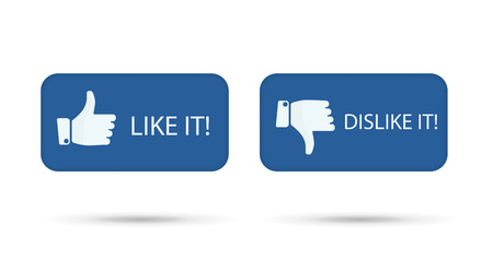 dislike it: like it and dislike it symbol buttons isolated.