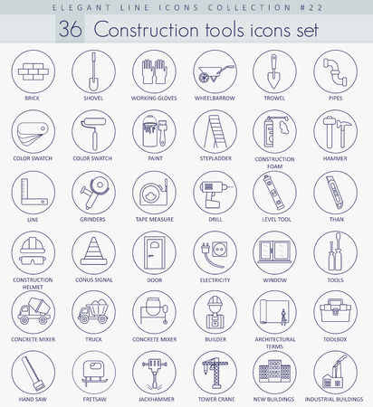 Vector Construction tools outline icon set. Elegant thin line style design.