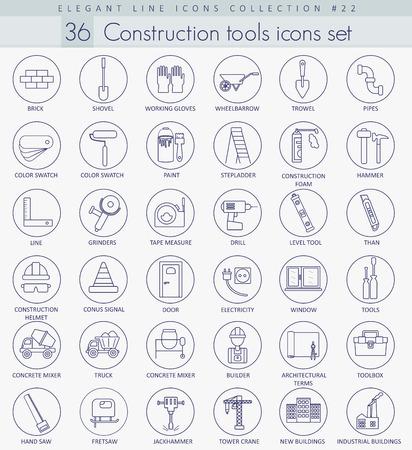 Vector Construction Tools Umriss-Icon-Set. Elegante dünne Linie Stil Design. Vektorgrafik