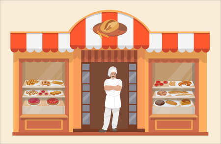 bakery products: Bakery shop building with bakery products and Baker.