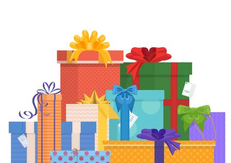 Verjaardag en kerstvakantie verpakte geschenken Pack Vector Illustratie