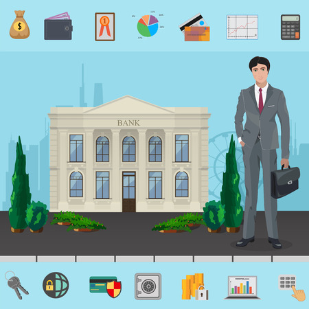 bank manager: Bank manager near Bank building with modern cityscape concept. Symbols of Corporate, Business and Finance