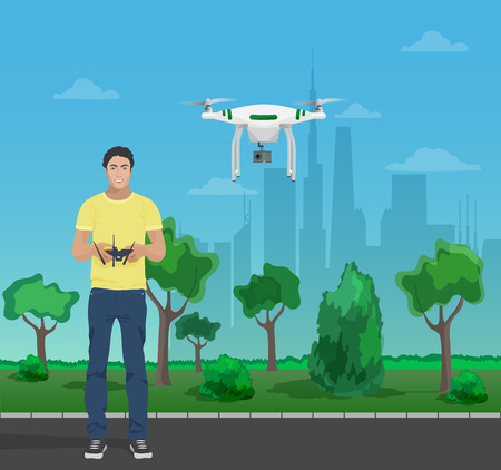controling: Guy controling aerial quadrocopter drone in the city park. Vector illustration Illustration
