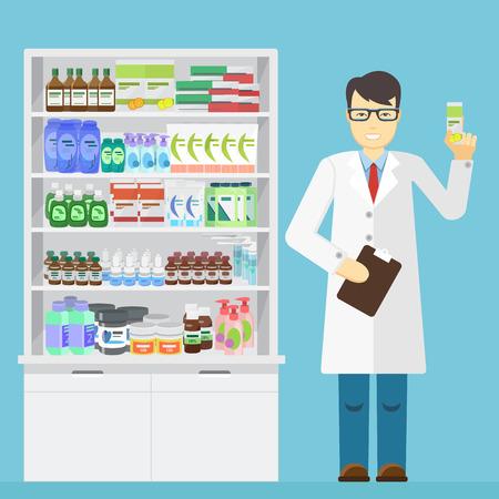farmacéutico de sexo masculino que sostiene en las manos de la medicina en una farmacia cerca de estantes con medicamentos Ilustración de vector