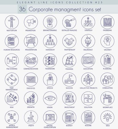 managment: Vector Corporate managment outline icon set. Elegant thin line style design