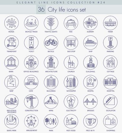 property of china: Vector Modern city outline icon set. Elegant thin line style design Illustration