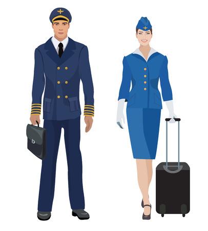 stewardess: Pilot and stewardess in uniform isolated. Vector illustration.