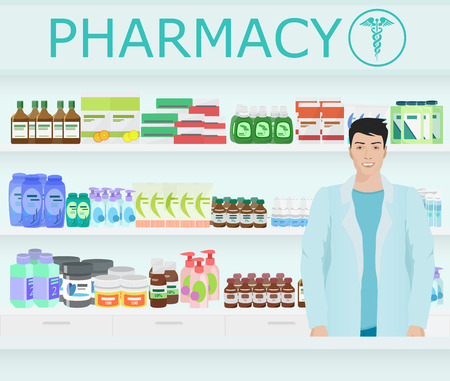 druggist: Male pharmacist at the counter in a pharmacy opposite the shelves with medicines Illustration