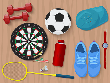 wooden shoes: Sports equipment on wooden floor. Shoes, darts, water and  dumbbells. Illustration