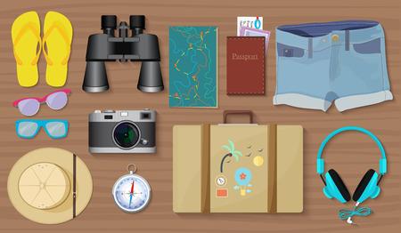 exploring: Set of travel exploring equipment stuff and tools set