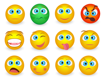 Set of Emoji emoticons face icons isolated. Vector illustration.