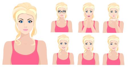 chica rubia modelo con diferentes emociones faciales establecidos. ilustración