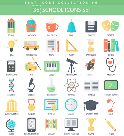 science icons: school color flat icon set. Elegant style design