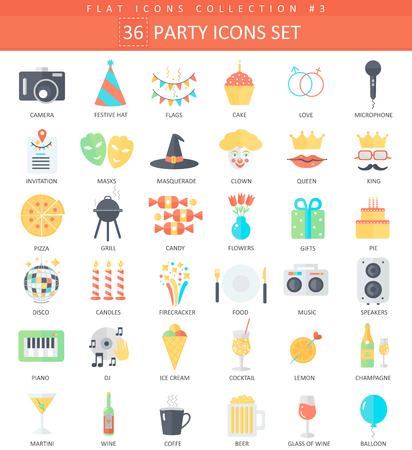 party color flat icon set. Elegant style design