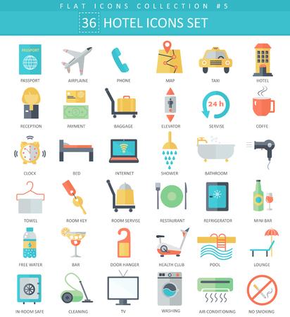 gym room: hotel color flat icon set. Elegant style design Illustration