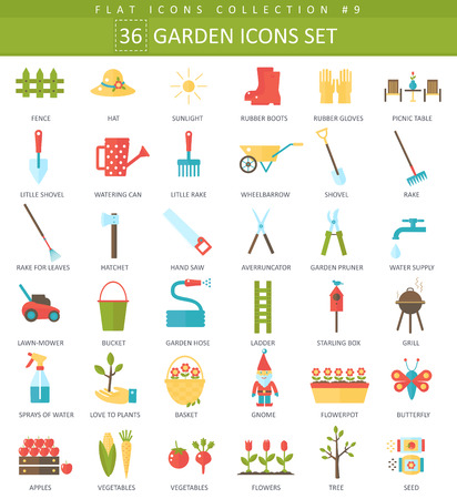 garden color flat icon set. Elegant style design. Illustration