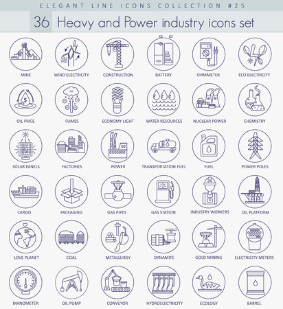 heavy industry: heavy and power industry outline icon set. Elegant thin line style design