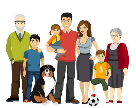 Big Happy Family i ilustracji izolowane Ilustracje wektorowe