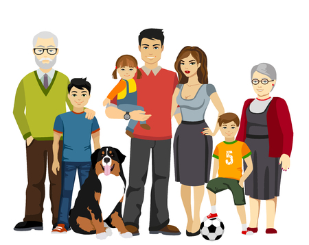 Grote en geïsoleerde Happy Family illustratie Vector Illustratie