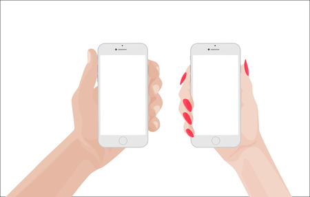 woman smartphone: man and woman handsholding white smartphone. illustration