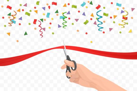 celebration: Ręka trzyma nożyczki i cięcia czerwoną wstążką na tle transperant. Ceremonia otwarcia lub uroczystości i zdarzeń Ilustracja