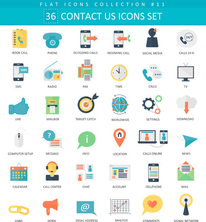 communication icons: contact us color flat icon set. Elegant style design