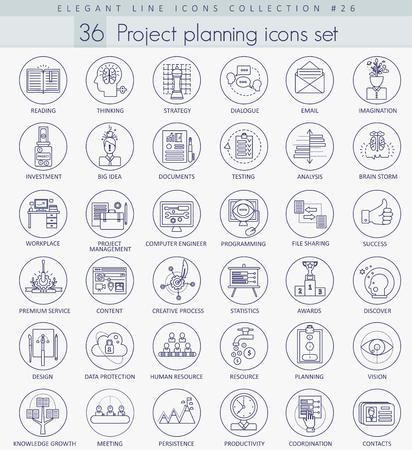 optimize: Project planning outline icon set. Elegant thin line style design