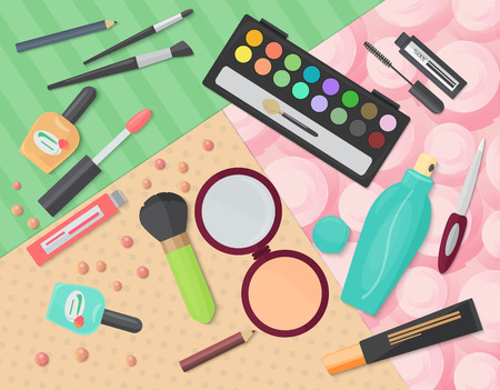 cosmetics products: Various makeup decorative cosmetics products on color patterns background. illustration